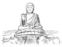 Kreskówki nakreślenie Tian Dębna lub Duża Buddha statua, Hong Kong ilustracja wektor