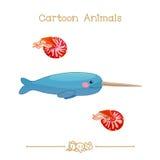 Kreskówki: Narwhal męski wieloryb, łodzika pompilius Zdjęcie Royalty Free