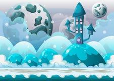 Kreskówki nieba wektorowy krajobraz z oddzielonymi warstwami Zdjęcia Royalty Free