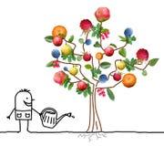 Kreskówki ogrodniczka Nawadnia Wielo- owoc drzewa royalty ilustracja
