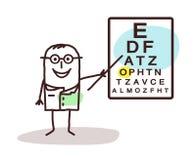 Kreskówki ophtalmologist z znakami na pokładzie royalty ilustracja