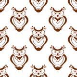 Kreskówki owlet bezszwowy wzór Obrazy Stock