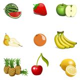 Kreskówki owoc Ustawiająca Odizolowywającą wektor Fotografia Royalty Free