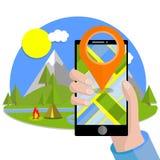 Kreskówki płaska ilustracja - zielone łąki i wzgórza, błękitny jeziorny staw ilustracja wektor