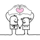 Kreskówki para robi sercu podpisywać z ich rękami Zdjęcie Stock