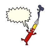 kreskówki pióra charakter z mowa bąblem Zdjęcia Stock