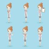 Kreskówki piękna kobiety lekarka ilustracji