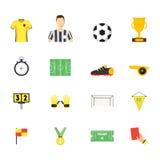 Kreskówki piłki nożnej sporta koloru Gemowe ikony Ustawiać wektor Zdjęcie Stock
