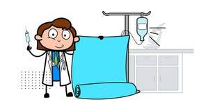 Kreskówki pielęgniarka z ślimacznica sztandaru wektorem ilustracji