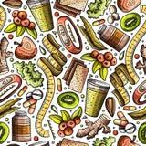 Kreskówki pociągany ręcznie diety karmowy bezszwowy wzór Obrazy Stock