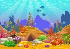 Kreskówki podwodny tło ilustracja wektor