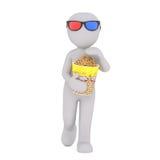 Kreskówki postać z popkornem Iść 3D film Obraz Royalty Free