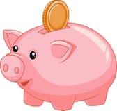 Kreskówki prosiątka bank z monetą ilustracja wektor