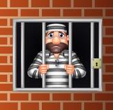 Kreskówki przestępca w więzieniu ilustracja wektor