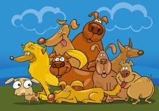 kreskówki psów grupa ilustracja wektor