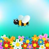 Kreskówki pszczoła lata nad kwiatami ilustracja wektor