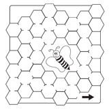 Kreskówki pszczoły labiryntu gra - kolorystyki książki strony dla dzieci royalty ilustracja