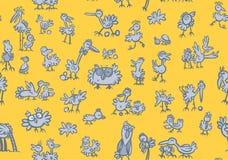 Kreskówki ptaków Wzór Obrazy Royalty Free
