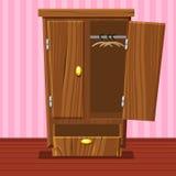 Kreskówki pusta otwarta garderoba, Żywy izbowy drewniany meble Fotografia Royalty Free