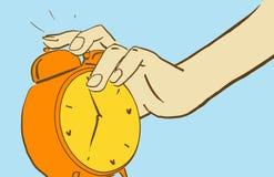 Kreskówki ręka Dosięga Dla dzwonienie budzika obracać je daleko Obrazy Royalty Free