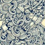 Kreskówki ręka rysująca kawiarnia doodles bezszwowego wzór Zdjęcia Royalty Free