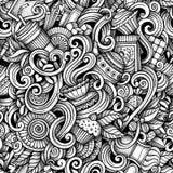 Kreskówki ręka rysująca kawiarnia doodles bezszwowego wzór Zdjęcie Stock
