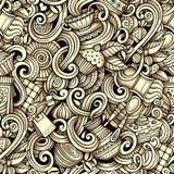 Kreskówki ręka rysująca kawiarnia doodles bezszwowego wzór Fotografia Royalty Free