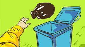 Kreskówki ręka Rzuca śmieci W błękita Pustym kubeł na śmieci Na trawie Zdjęcia Stock