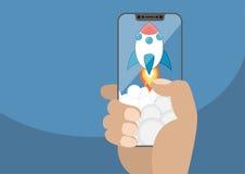 Kreskówki rakietowy wszczynać od bezszkieletowego ekranu sensorowego z dymem Wektorowa ilustracja trzyma nowożytnego bezel bezpła Obrazy Royalty Free
