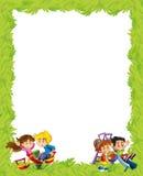 Kreskówki rama z dziećmi bawić się na boisko zabawce Obrazy Stock