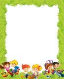 Kreskówki rama z dziećmi ma zabawy bawić się Zdjęcie Stock
