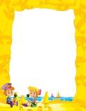 Kreskówki rama z dziećmi na plaży bawić się w piasek żaglówkach w tle - przestrzeń dla teksta royalty ilustracja