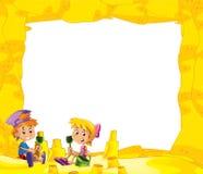 Kreskówki rama z dziećmi na plaży bawić się w piasku - przestrzeń dla teksta royalty ilustracja