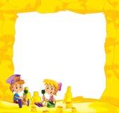Kreskówki rama z dziećmi na plaży bawić się w piasku - przestrzeń dla teksta ilustracji