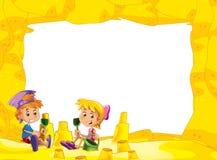 Kreskówki rama z dziećmi na plaży bawić się w piasku - przestrzeń dla teksta ilustracja wektor