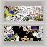 Kreskówki raster kolorowa ręka rysująca doodles muzyczną korporacyjną tożsamość Obraz Royalty Free