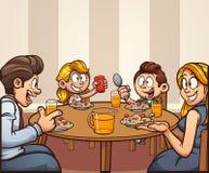 Kresk?wki rodzina ma ?niadaniowego ?asowanie przy sto?em ilustracja wektor