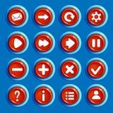 Kreskówki round czerwoni guziki z sieci ikonami Zdjęcie Stock