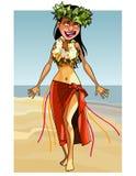 Kreskówki rozochocona kobieta tanczy na seashore ilustracji