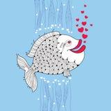 Kreskówki ryba z uśmiechniętymi wargami i menchiami gulgocze jak serce na błękitnym tle ilustracja wektor