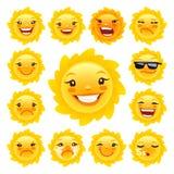 Kreskówki słońca charakteru Emoticons Ustawiający Fotografia Stock