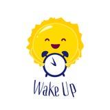 Kreskówki słońce trzyma zegar Budził się plakat Mieszkanie styl wektor Zdjęcie Royalty Free