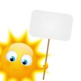 Kreskówki słońce z papierowym talerzem ilustracja wektor