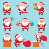 Kreskówki Santa charakter Bożenarodzeniowi śliczni dziadu Claus charaktery dla Xmas wakacji kartka z pozdrowieniami wektoru setu ilustracji