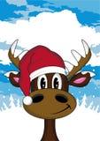 Kreskówki Santa kapeluszu renifer Zdjęcia Royalty Free