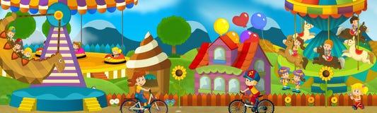 Kreskówki scena dzieciaki bawić się w funfair ilustracji