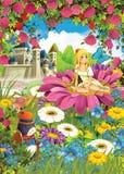 Kreskówki scena dziewczyna na kwiacie z zwierzęcymi przyjaciółmi - ślepuszonki ilustracja wektor