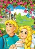 Kreskówki scena kochająca para roszuje w tle dla różnych bajek - - książe i princess - Obrazy Royalty Free