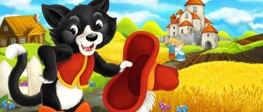 Kreskówki scena - kot podróżuje kasztel na wzgórzu Obraz Royalty Free