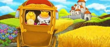 Kreskówki scena królewski kareciany podróżować piękny kasztel Obraz Stock